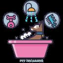 chien dans un bain